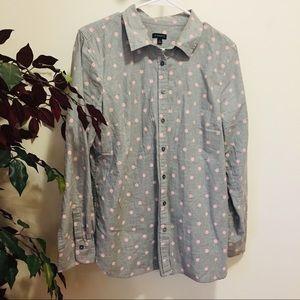 Talbots chambray polka dot shirt
